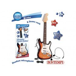 Elektroninė gitara su diržu ir mikrofonu