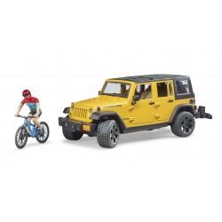 Automobilis Jeep Wrangler ir dviratininkas su kalnų dviračiu