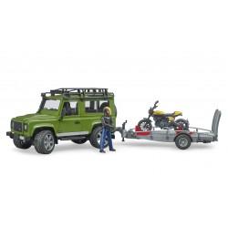 Automobilis Land Rover Defender su priekaba ir motociklu Scrambler Ducati Full Throttle