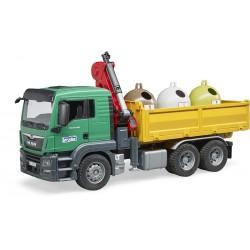 Man TGS sunkvežimis su kranu ir atliekų konteineriais