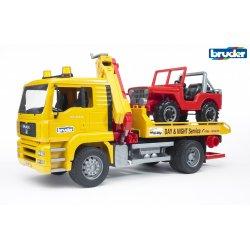 Sunkvežimis geltonas su raudonu džipu