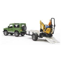 Sunkvežimis Land Rover ir ekskavatorius su darbuotoju