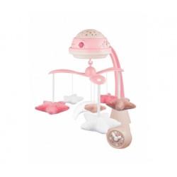 Babies 3in1 muzikinė karuselė su projektoriumi ir pliušinias žaislais rožinė pin