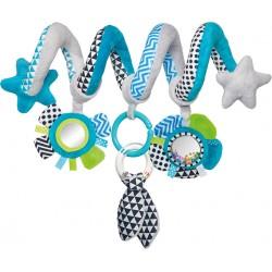 Babies interaktyvus lovelės vežimėlio žaislas spiralė Zig Zag blu