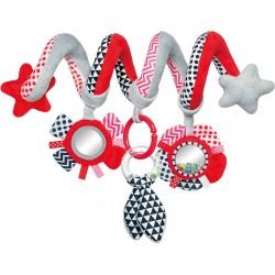 Babies interaktyvus lovelės vežimėlio žaislas spiralė Zig Zag red