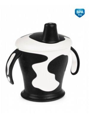 Babies neišipilantis puodelis su rankenom Cow 9m+ 250ml black