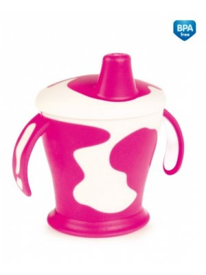 Babies neišipilantis puodelis su rankenom Cow 9m+ 250ml pink