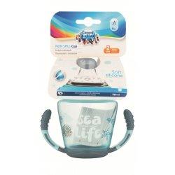 Babies neišsipilantis puodelis su mikštu silikoniniu snapeliu Sea life 230ml pilkas grey