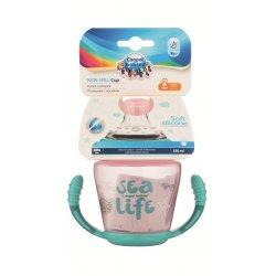 Babies neišsipilantis puodelis su mikštu silikoniniu snapeliu Sea life 230ml rožinis pin