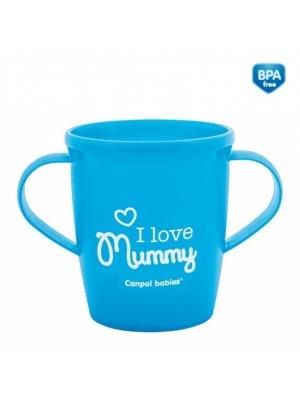 Babies puodelis mokomasis su rankenomis I love MummyDaddy 250ml