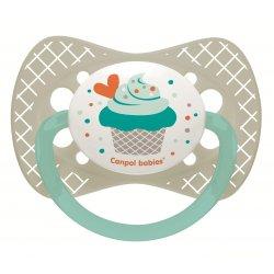 Babies silikoninis simetrinis čiulptukas Cupcake 18m+ pilkas pin