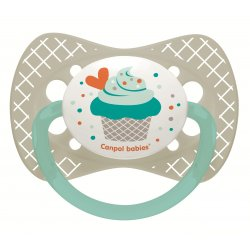 Babies silikoninis simetrinis čiulptukas Cupcake 6-18m pilkas grey