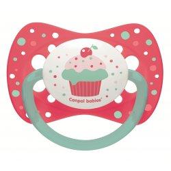 Babies silikoninis simetrinis čiulptukas Cupcake 6-18m rožinis pin