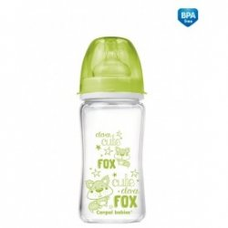 Buteliukas Anti-Colic EasyStart glass 240ml Forest Friends green