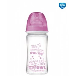 Buteliukas Anti-Colic EasyStart glass 240ml Forest Friends pink