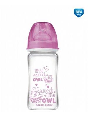 Buteliukas Anti-Colic EasyStart glass 240ml Forest Friends pink