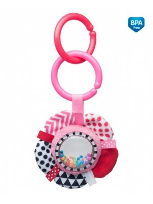 Minkštas žaislas su barškučiu Zig Zag Pink Ribbon pin