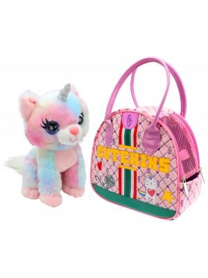 Pliušinis žaislas Caticorn su nešiojimo krepšiu