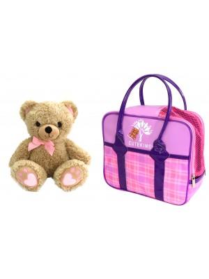 Pliušinis žaislas Meškiukas su nešiojimo krepšiu