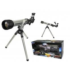 Teleskopas su veidrodžiu ir trikoju