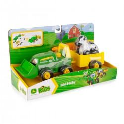 John DEERE traktorius su priekaba