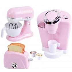 Playgo virtuviniai prietaisai (kavos aparatas plakiklis ir skrudintuvė) rožinės spalvos